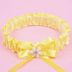 Желтый один Бантом Жемчужный Цветок со стразами невесты Подвязки Свадебные принадлежности эластичный подвязка кольцо