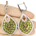 Long Green Peridot, White CZ Created SheCrown Woman's Engagement   Silver Earrings 56x26mm