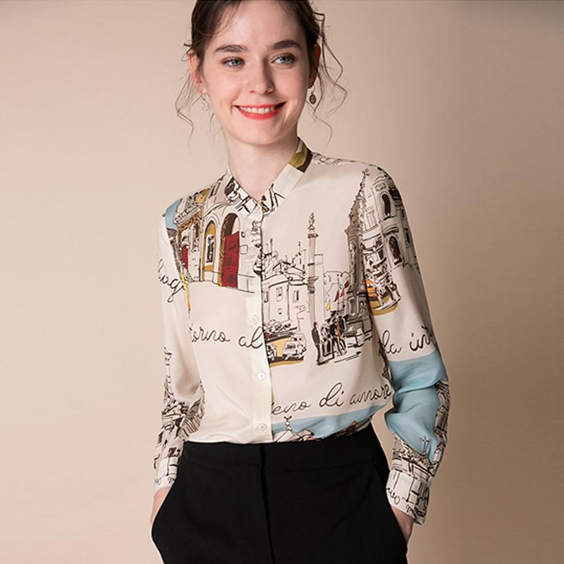 100 Silk Blouse Women Shirt Artistic Printed Design O Neck Long Sleeves Elegant Style Office Top