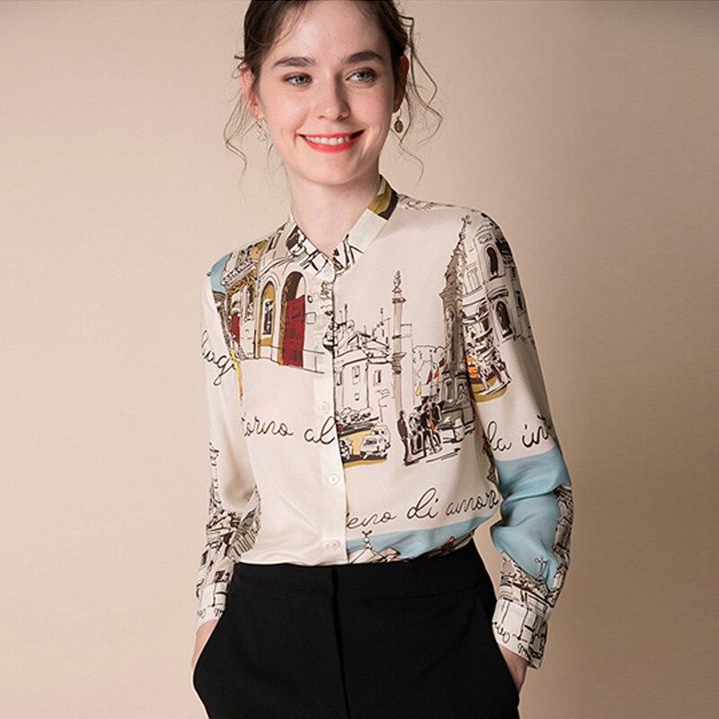 100% 실크 블라우스 여성 셔츠 예술적 인쇄 디자인 오 넥 긴 소매 우아한 스타일 오피스 탑 새로운 패션 2019-에서블라우스 & 셔츠부터 여성 의류 의  그룹 1