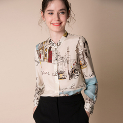 100% seide Bluse Frauen Hemd Künstlerische Gedruckt Design O Neck Long Sleeves Elegante Stil Büro Top Neue Mode 2019