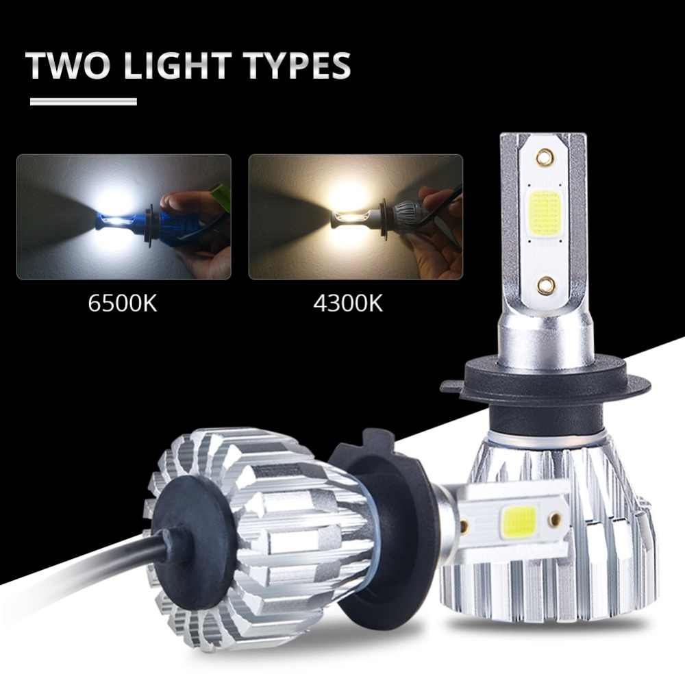 Foxcncar LED 6500K H4 H7 4300K Car Headlight H1 H3 H11 H8 H9 9005 9006 HB3 HB4 auto lamp faro moto Fanless 5000LM 50W DC 12V 24V