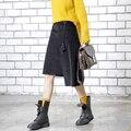 [Twotwinstyle] 2017 primavera irregular hem cintura alta saias das mulheres saia de veludo com borlas nova roupa da moda