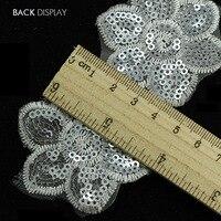 Silver Sequin Floral Brodé Dentelle Tissu Ruban Garniture Applique Motif Scrapbooking Embellissement pour la Robe De Mariage 14 cour/T861