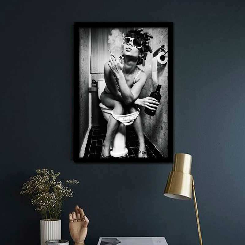 Modern Black White Art Poster Wall Pictures Sexy Charming Woman Beauty Canvas Painting Toilet Pub Bar Home Decoration