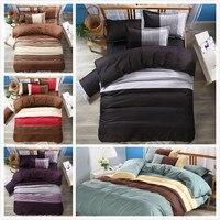 Impressão capa de edredão set EUA  AU tamanho jogo de cama preto 229*259 cm cama Queen size conjunto de capa de edredão Têxtil de Casa 2/3 pcs cama tarja