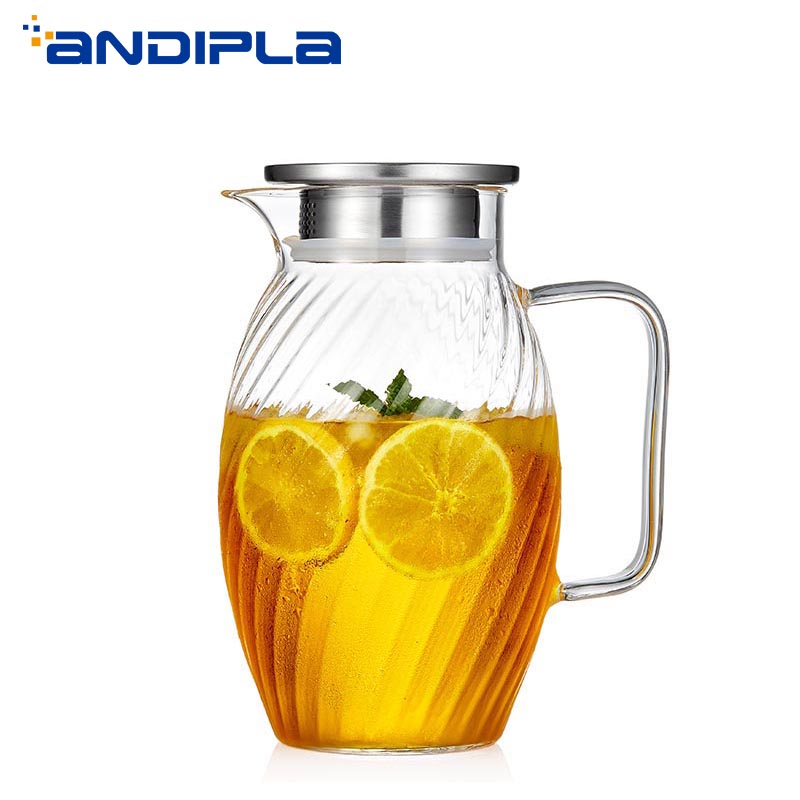 1500 ml style japonais marteau motif verre bouteille d'eau haute capacité jus de fruits lait café bouilloire résistant à la chaleur citron théière