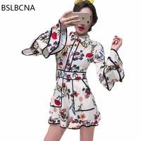 2018 Korean Style Long Sleeve Kawaii Print Flowers Bodycon Vintage Sexy Women Shorts One Picece Chiffon Jumpsuit Female A342
