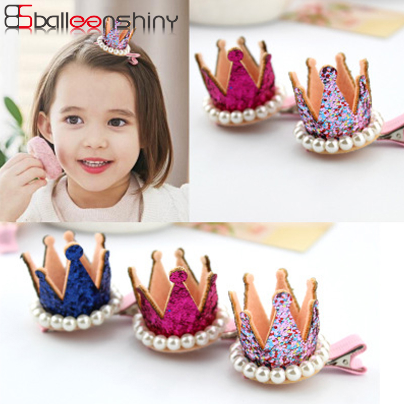 BalleenShiny Pearl Crown Hairpin Baby Girls Princess Hair Accessories Children Kids Fashion Glitter   Headwear   Hair Clip Hot Sale