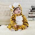 Inverno roupas de bebê Moda macio e espesso flanela animal tigre trajes de halloween do bebê meninos