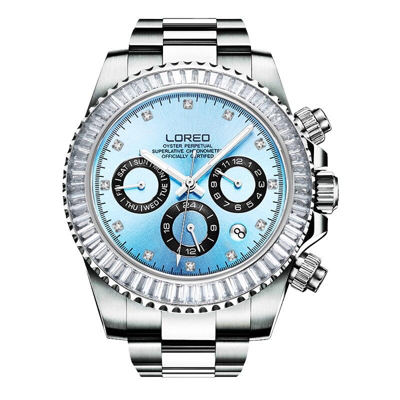 LOREO allemagne montres hommes automatique auto-vent autrichien diamant huître perpétuelle cosmographe daytona relogio masculino 116515LN