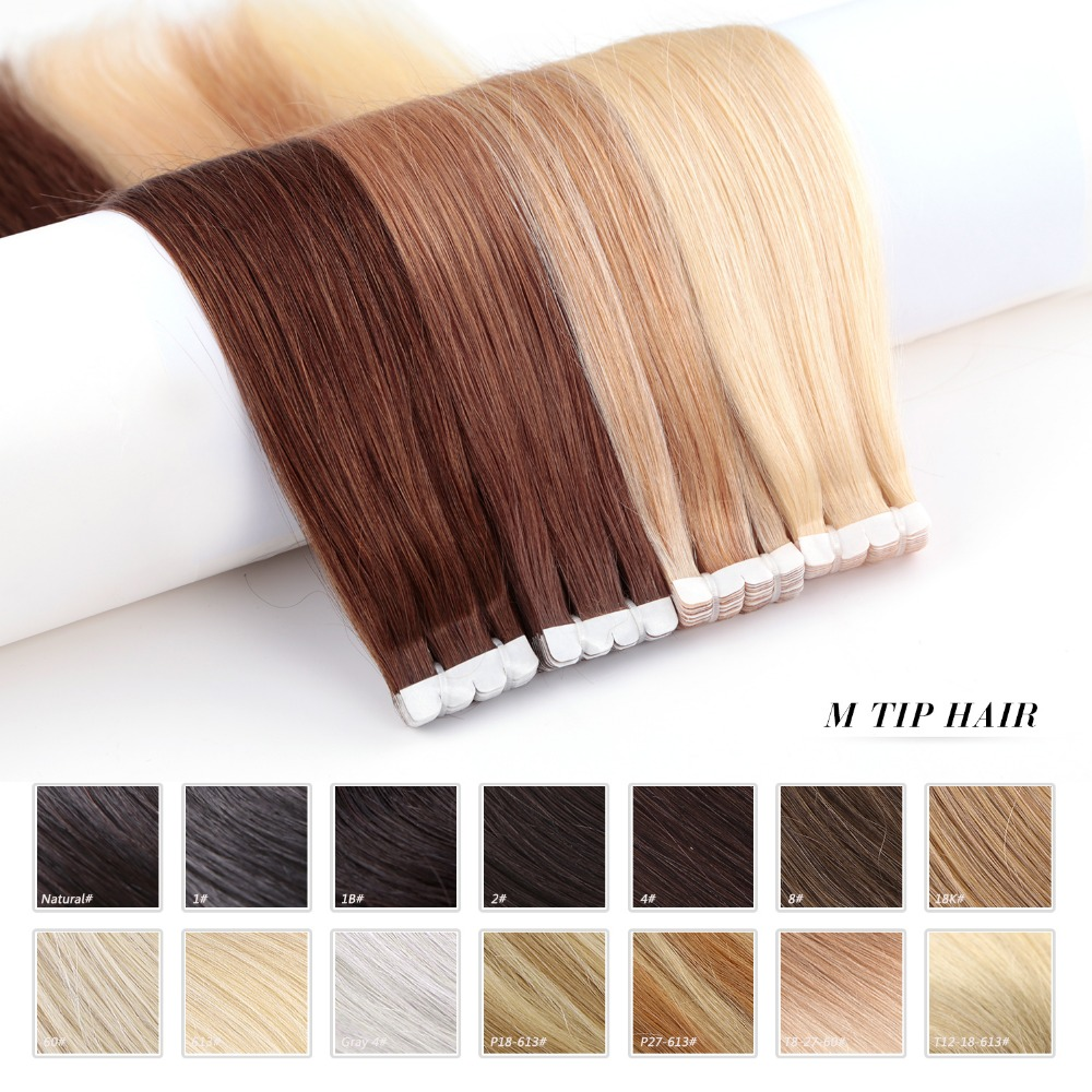 Neitsi Tape-In Adhesive-Extension Skin Human-Hair Straight Mini 13-Colors Non-Remy Weft