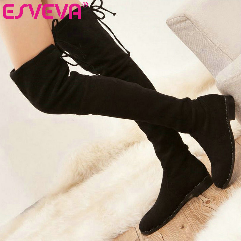 ФОТО ESVEVA  Red Shoes Women Sweet Square Heel Woman Over The Knee Boots Women Shoes Lace Up Lady Fashion Long Boots Plus Size 34-43
