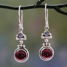 Винтажные лунные серьги с красным камнем женская Европейская и американская мода трендовые тайские серебряные серьги ювелирные изделия для женщин девушек