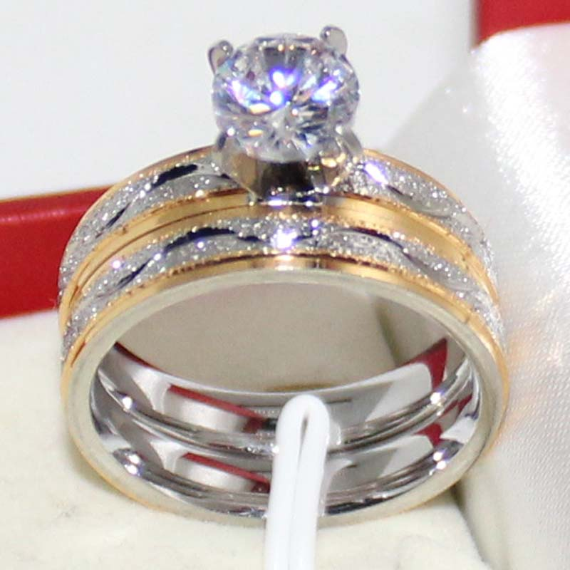male female zirconia wedding ring sets frosting stainless steel band couple rings for men and women