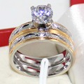 Male Female Simulated Diamond Wedding Ring Sets Frosting Stainless Steel Band Couple Rings For Men And Women Free Shipping