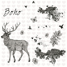 YaMinSanNiO Stamps and Dies Decorative Deer Flower Christmas Ornaments Set Rubber Clear Stamp for Card Making