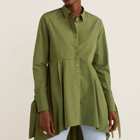 2019 za actumn women's fashion v neck oversized LINEN cotton blouses knotted sleeve shirts for girls XS S M L