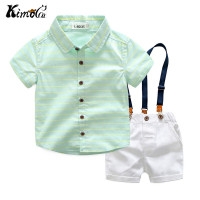 Kimocat New High Quality Summer Blue Stripe Cotton Lapel Shirt Suspenders Kids Boy Sets 3 8Y
