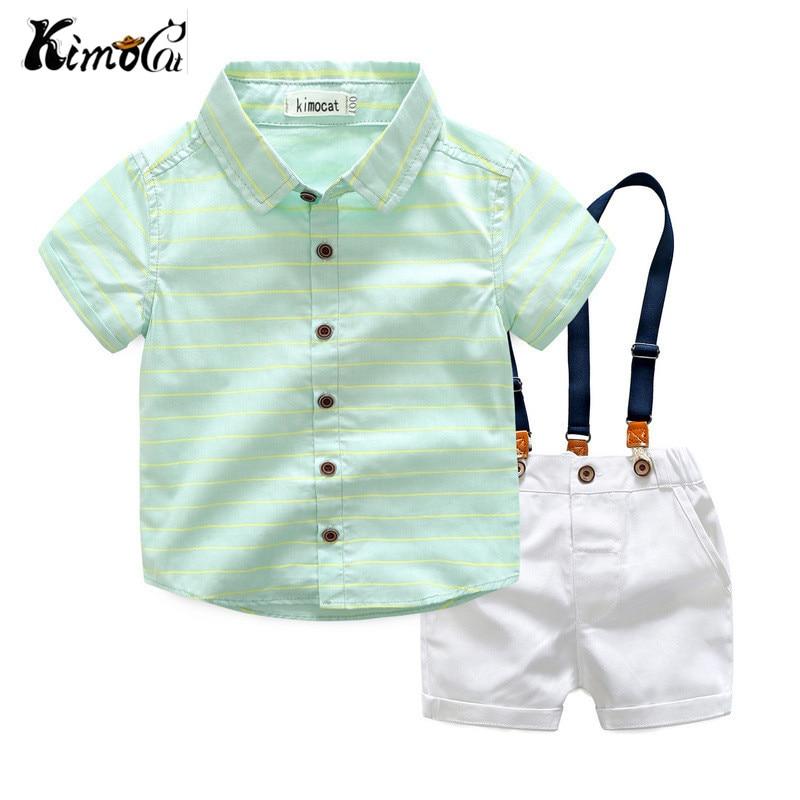 Kimocat new High quality summer blue stripe cotton lapel shirt + suspenders kids boy sets 3-8Y blue stripe pattern shirt in sweet design