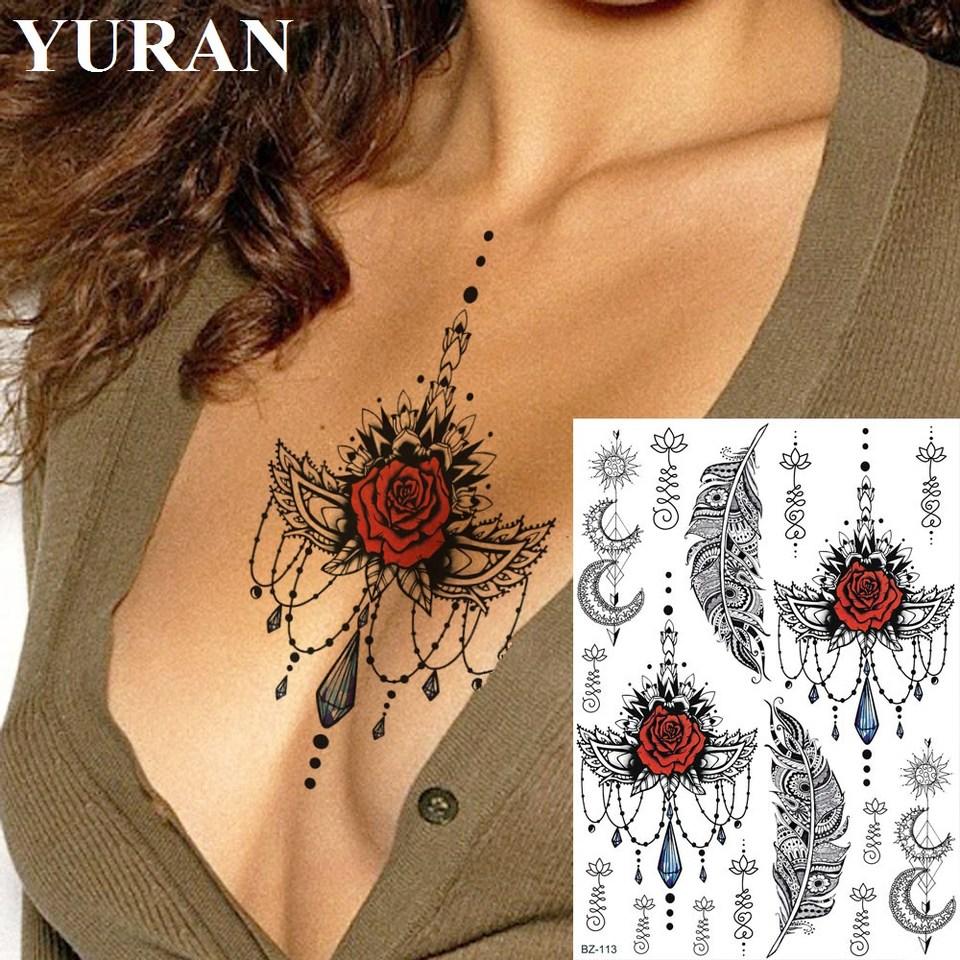 Yuran India Pendants Feather Women Chest Tattoos Stickers Fake Waterproof Henna Totem Temporary Tattoo Girl Custom Body Arm Tato Temporary Tattoos Aliexpress
