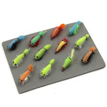 1Set 12pcs Fly shrimp Fishing Hooks Shrimp Colorful Feather Bait Hook Dry Fly hook TOPIND Fishing Tackle