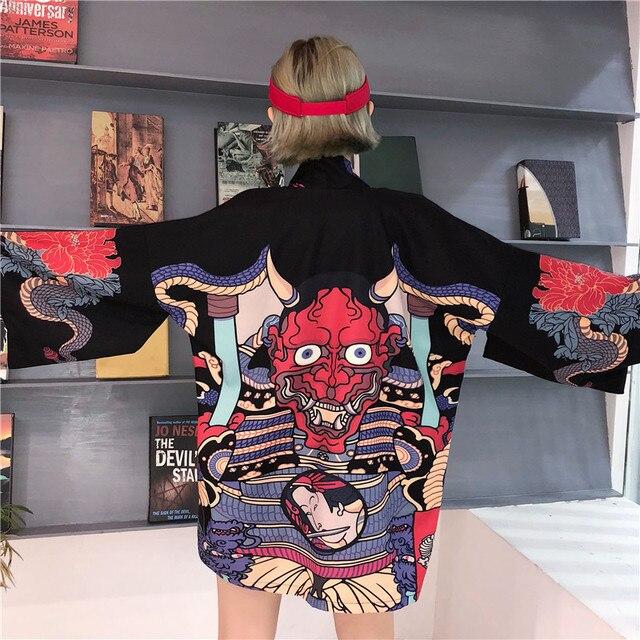 Летняя Блузка хараджуку для женщин и мужчин кимоно кардиган японский мультфильм печатных Свободная блуза, топы Mujer De Moda