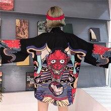 Летняя Блузка хараджуку Для женщин человек кимоно кардиган японский мультфильм печатных Свободная блуза, топы Mujer De Moda