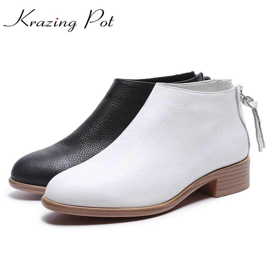 Krazing Pot cow leather slip on boots women superstar round toe low heel solid simple lazy style cozy pregnant Chelsea boots L08 nayiduyun women genuine leather wedge high heel pumps platform creepers round toe slip on casual shoes boots wedge sneakers