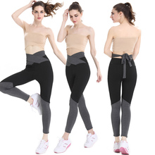 Women High Waist Bandage Bowknot Slim Sports Pants Athleisure Running And Gym Leggings Active Patchwork Workout Fitness Pants