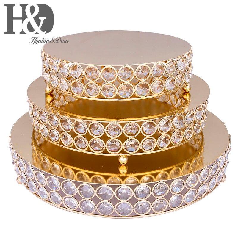 H & D lot de 3, or gâteau Stand métal fer cristal perle Cupcake Stand mariage fête décoration fournisseur cuisson gâteau accessoire outils