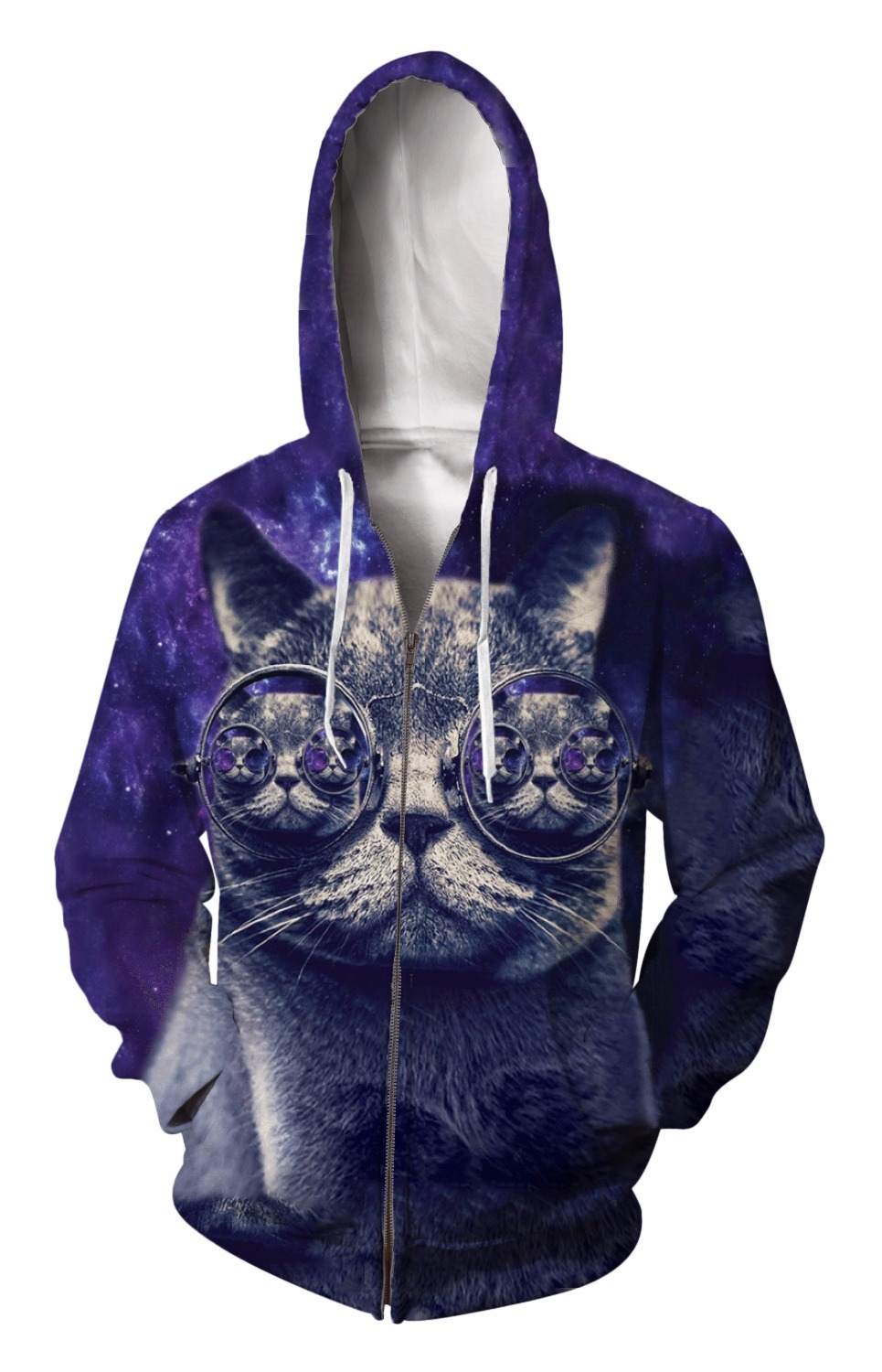 Zip-Up Hoodie 3d Print Soft cool eyes Cat Clothing Women Men Tops Hooded Casual Zipper Sweatshirts Outfits Coats Sweat factory