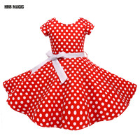 Summer Girls Dress Elegant Vintage Cotton Retro Princess Dress Party Costume Kids Clothes Red Dot Girl Dress Children Clothing