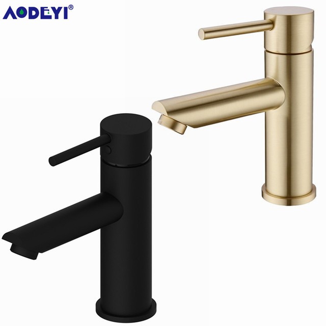 AODEYI Solid Brass Bathroom Faucet Hot & Cold Water Tap Deck Mounted Install Single Handle Sink Tap Brushed Gold & Black