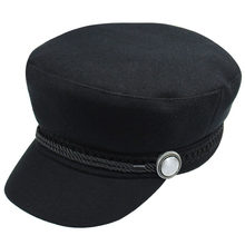 09fb1fa3e13c3 Elegant Warm Beret Hat Women Casual Street Wear Rope Flat Cap boina Autumn  Winter Fashion Black Caps
