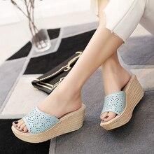 o16u women mules clog shoes leather slip on peep toe ladies cork wedge sandals  platform sandals shoes flats 2017 summer