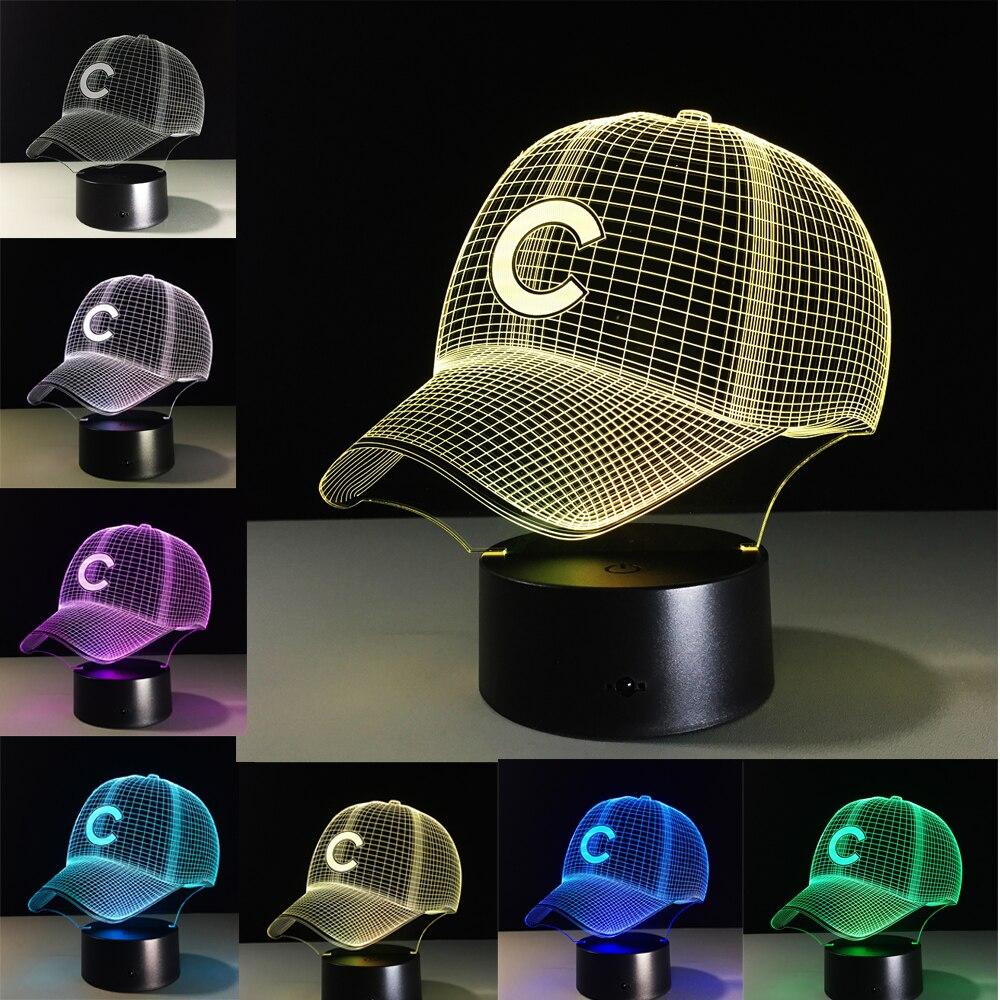 Chicago Cubs Cappello di Calcio LED Night Light Touch 7 Colori Che Cambiano Lampada da tavolo USB 3D lampade Da Tavolo Decorazione Per I Regali Capretto Giocattoli