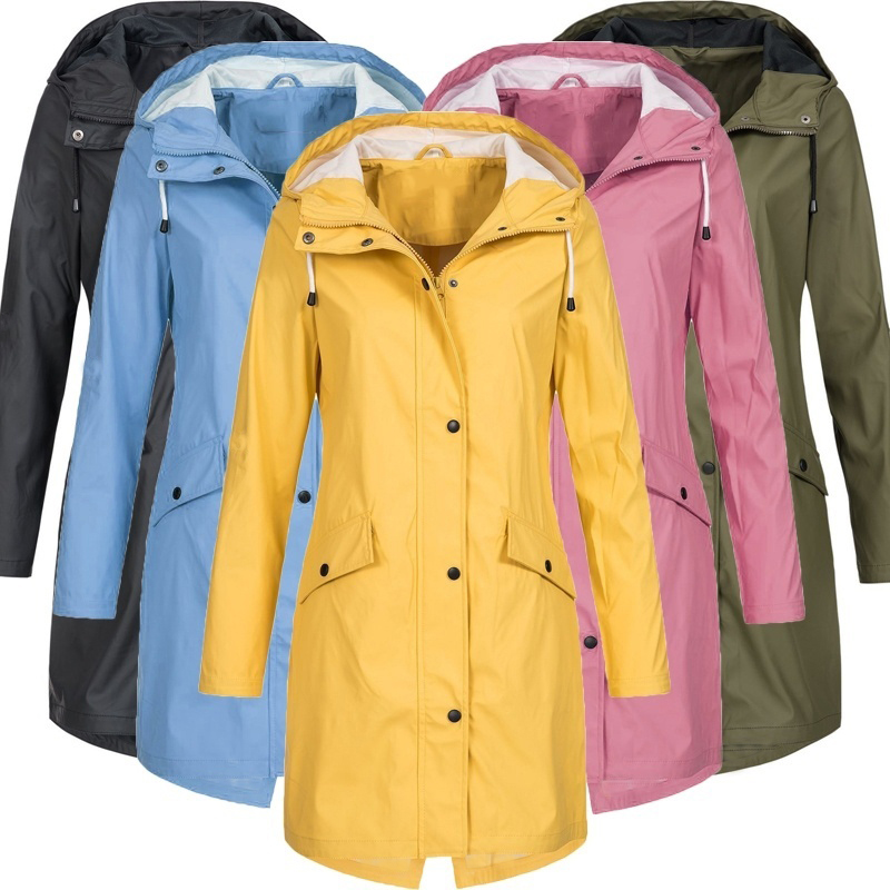 Plus Size Waterproof Solid Colour Jacket Ladies Hooded