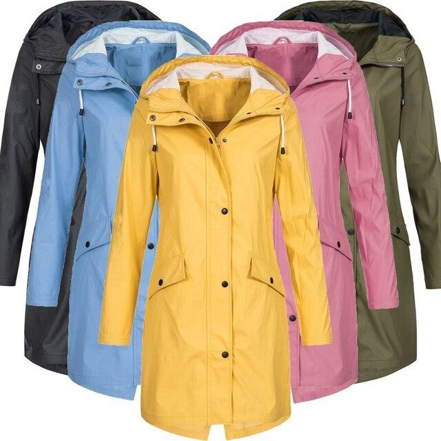 e937ac314dc6f Plus Size Waterproof Solid Colour Jacket Ladies Hooded Classic Softshell Raincoat  Outdoor Coat Women Windbreaker Outwear