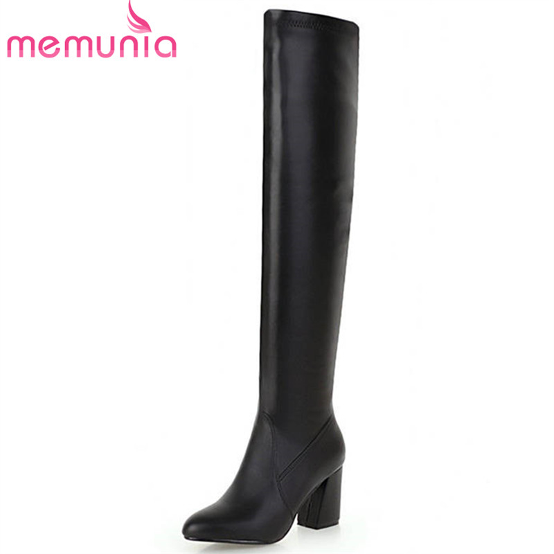 все цены на MEMUNIA 2018 new arrival pu pointed toe autumn winter women boots slip on fashion high heels shoes sexy prom thigh high boots