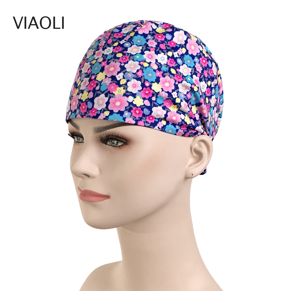 Unisex Medical Doctor Nurse Surgical Cap Cotton Purple Floral Printing Beauty Salon Cap Scrub Lab Clinic Dental Operation Hats
