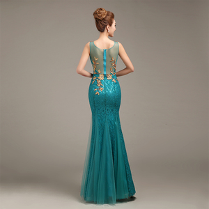 Image 4 - Robe de soiree 2020 V Neck Beaded Long with Appliques gowns Mermaid Evening Dresses vestido de festa prom dresses party dresses
