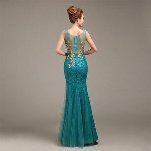 Image 4 - Robe de soiree 2020 V צוואר חרוזים ארוך עם אפליקציות שמלות בת ים ערב שמלות vestido דה festa שמלות נשף מפלגת שמלות