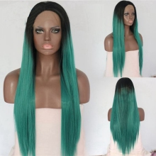 MRWIG short dark roots ombre green natural silky straight  glueless cosplay front lace wig middle part heat resistant fiber