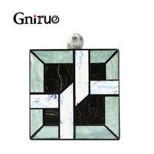 Новинка 2020, акриловые сумочки Unqique в клетку с геометрическим рисунком, повседневные клатчи, женская сумка мессенджер, женские свадебные вечерние сумочки