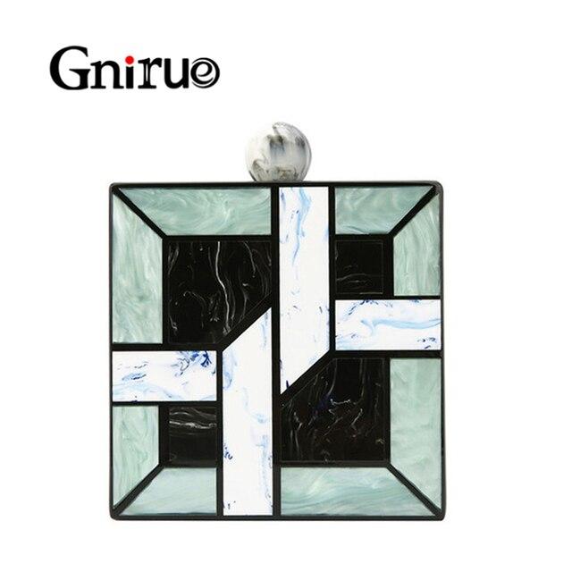 Nowy 2020 Unqique siatka geometryczna Patchwork akrylowe torebki codzienne kopertówki damskie torebki damskie Patry wieczór weselny torby