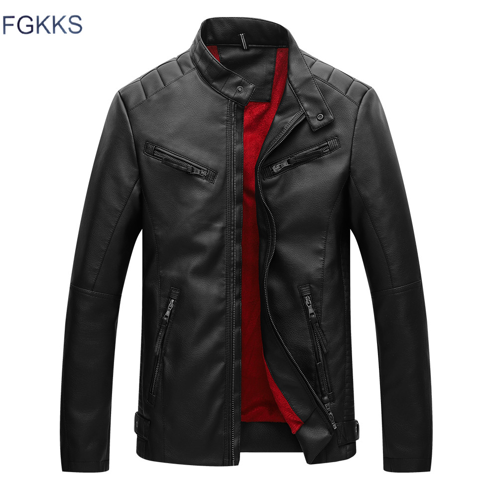 FGKKS New Autumn Leather Jacket Men Velvet Thick Warm Leather Jackets Men Pu Leather Motorcycle Jackets For Male Coat