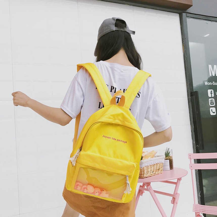 3df793fe8d4 Cute Transparent Ita School Bags Women cartoon 3d duck canvas Backpack For Teenage  Girls Fashion Letter