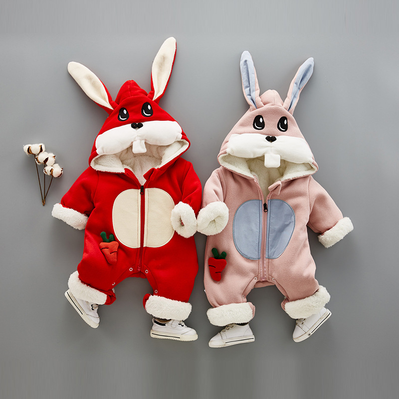 0.8Kg Super Warm Children Winter Jumpsuit Rompers Rabit Baby Girl Winter Coat Cartoon Boys Snowsuit Hooded Rompers Baby Overalls fashion baby jumpsuit winter rompers hooded children winter jumpsuit duck down baby girl rompers infant boy snowsuit overalls