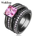 Black gold plated Ring Pink stone 3 ct  AAA CZ diamond Vintage Wedding bridal Sets For Women Fashion Jewelry Wholesale VSR116